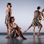 "April 5, 2012 - New York, NY : From left, CC Chang, James McGinn, Sara Procopio, and Adam H. Weinert, perform in Jonah Bokaer and Davide Balliano's ""Metro Repitition"" during a dress rehearsal of The Baryshnikov Arts Center and The Watermill Center's presentation of ""On The Beach,"" inspired by -- and to celebrate the 35th anniversary of -- the Robert Wilson and Philip Glass opera ""Einstein on the Beach"" at the Baryshnikov Arts Center in Manhattan on Thursday night.  CREDIT : Karsten Moran for The New York Times"