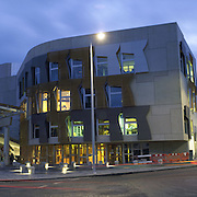 Early night time view of Scottish Parliament