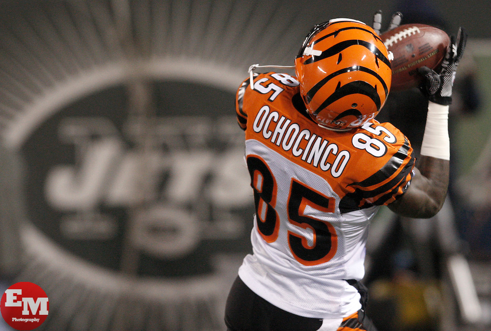 Jan 3, 2010; East Rutherford, NJ, USA; Cincinnati Bengals wide receiver Chad Ochocinco (85) makes a catch during the pregame warmups before their game against the New York Jets at Giants Stadium.
