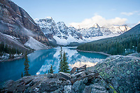 The sunrise at Lake Moraine is one of the many iconic shots of Banff National Park