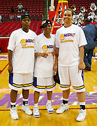 "Coppin State's ""Camden Connection"" (L-R) Ebony Allen, Shalamar Oakley and Tanezia Harden pose after winning the championship game during the 2006 MEAC Basketball Tournament at the RBC Center in Raleigh, North Carolina.  March 11, 2006  (Photo by Mark W. Sutton)"