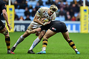Exeter Chiefs lock Jonny Hill  takes a tackle during the Aviva Premiership match between Wasps and Exeter Chiefs at the Ricoh Arena, Coventry, England on 18 February 2018. Picture by Dennis Goodwin.