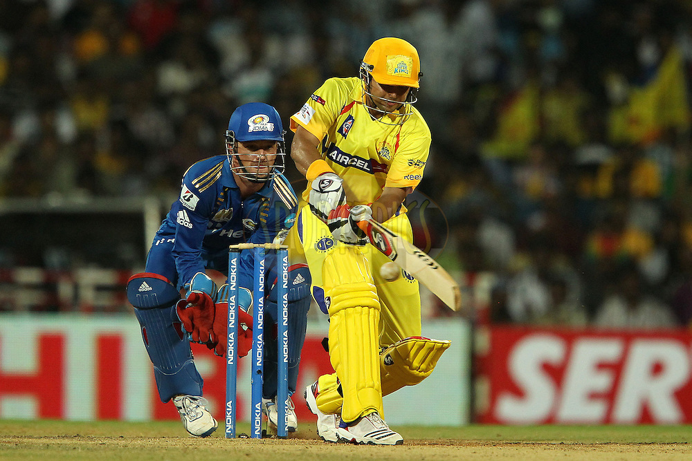 Davey Jacobs keeps wicket as Suresh Raina bats during match 3 of the NOKIA Champions League T20 ( CLT20 )between the Chennai Superkings and the Mumbai Indians held at the M. A. Chidambaram Stadium in Chennai , Tamil Nadu, India on the 24th September 2011..Photo by Ron Gaunt/BCCI/SPORTZPICS