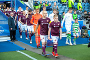 Hearts exit the tunnel before the Betfred League Cup semi-final match between Heart of Midlothian FC and Celtic FC at the BT Murrayfield Stadium, Edinburgh, Scotland on 28 October 2018.