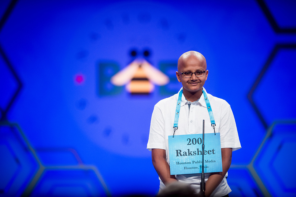 Raksheet Kota, 14, from Katy, Texas, participates in the finals of the 2017 Scripps National Spelling Bee on Thursday, June 1, 2017 at the Gaylord National Resort and Convention Center at National Harbor in Oxon Hill, Md.      Photo by Pete Marovich/UPI
