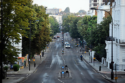© Licensed to London News Pictures. 27/08/2019. London, UK. Ladbroke Grove cleaned and open to traffic in the early morning, in the aftermath of the 2019 Notting Hill carnival. The two day event is the second largest street festival in the world after the Rio Carnival in Brazil, attracting over 1 million people to the streets of West London. Photo credit: Ben Cawthra/LNP