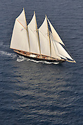 The 2010 Sailing yacht Atlantic is magnificent replica of the 1903 William Gardner designed three-masted sailing schooner Atlantic, owned by Ed Kastelein. The 1903 sailing schooner was a long time World record holder for the crossing of the Atlantic Ocean under sail in 1905 winning the Kaiser's Cup from New York to The Lizard. The record held firm for almost a century, when it was broken in 1998. It is the longest standing speed record in the Yachting History. .The Owner, Ed Kastelein is the man responsible for the recreation of this wonderful new schooner Atlantic, and is also behind such projects as the sailing yacht Thendara, sailing yacht Aile Blanche, sailing yacht Borkumriff, sailing yacht Zaca a te Moana and most recently the Herreshoff racing schooner Eleonora E...The Dutch Van der Graaf yard first launched the Sailing Yacht Atlantic in 2008. Following her launch, she underwent an extensive programme of fitting out. 2009 saw the assembly of her three masts, with a height of 45 metres, supporting 1700m? of sails. Her raven black high gloss hull reflects the ripples of the water and one glance at the three towering masts, instantly give the sense of power that this mighty yacht Atlantic has...Sailing schooner Atlantic is the largest classic sailing schooner ever created, measuring 185 feet (56 metres) over deck and with the bowsprit to boom length of 227 feet (69 metres). Her graceful sheerline and long overhangs accentuate her grace while her waterline length of 42 meters and narrow beam are a promise for unmatched speed under sail...On June 23rd 2010, sailing schooner Atlantic sailed out to sea, three years after her keel was laid. The Owner, Ed Kastelein, saw his long term dream come true, as he witnesses his family, guest and crew step on board of Atlantic yacht. Her maiden voyage was a two month leisurely cruise from Rotterdam to Cannes and she exceeded all expectations, sailing fast at every point of sail with amazing ease and comfort.Yacht Charter Accom