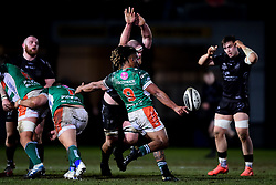 Guinness PRO14, Rodney Parade, Newport, UK 06/03/2020<br /> Dragons vs Benetton Rugby<br /> Charly Trussardi of Benetton Rugby clears the ball over Joe Davies of Dragons<br /> Mandatory Credit ©INPHO/Ryan Hiscott