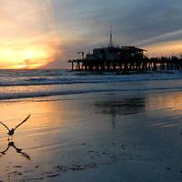 Santa Monica Beach amid the sunset on Sunday, February 20, 2011.