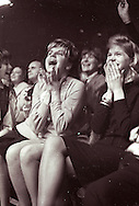 A 42MG FILE FROM FILM OF:..A fan reacts to the Beatles at their first concert in the United states February 11, 1964  Washington DC Photo by Dennis Brack