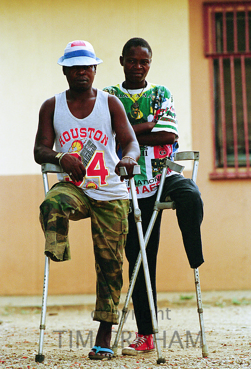 Landmine victims at Neves Bendinha, an International Committee of the Red Cross, ICRC, Orthopaedic Workshop In Luanda, Angola