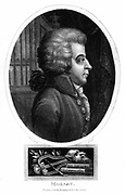 Wolfgang Amadeus Mozart (1756-1791), Austrian composer. From 'Encyclopaedia Londinensis' Vol. XVI. (London, 1819)