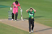 Central Stags Ryan McCone reacts during the Burger King Super Smash T20 cricket match between the Central Stags and the Northern Knights, McLean Park, Napier, Friday, January 25, 2019. Copyright photo: Kerry Marshall / www.photosport.nz