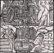 Chain of dippers (wooden buckets), powered by a water wheel being used to raise water from a mine.  From 'De re metallica', by Agricola, pseudonym of Georg Bauer (Basle, 1556).  Woodcut.