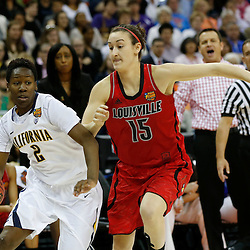 April 7, 2013; New Orleans, LA, USA; California Golden Bears guard Afure Jemerigbe (2) dribbles against Louisville Cardinals guard Megan Deines (15) during the first half in the semifinals during the 2013 NCAA womens Final Four at the New Orleans Arena. Mandatory Credit: Derick E. Hingle-USA TODAY Sports