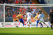 Mansfield Town defender Rhys Bennett (2) scores the first goal during the EFL Sky Bet League 2 match between Mansfield Town and Luton Town at the One Call Stadium, Mansfield, England on 26 August 2017. Photo by Nigel Cole.