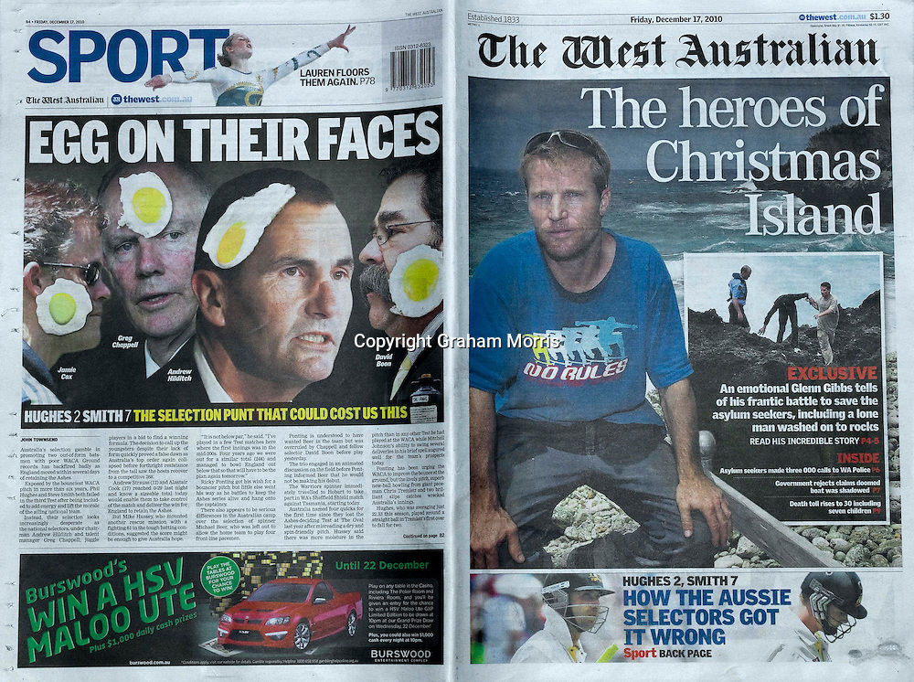 The West Australian newspaper showing the national cricket selectors with eggs on their faces during the third Ashes test match between Australia and England at the WACA (West Australian Cricket Association) ground in Perth, Australia. Photo: Graham Morris (Tel: +44(0)20 8969 4192 Email: sales@cricketpix.com) 18/12/10