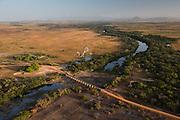 Bridge over Rupununi River<br /> Savanna <br /> south Rupununi<br /> GUYANA<br /> South America