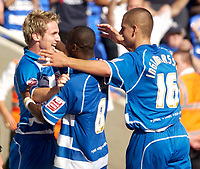 Photo: Daniel Hambury.<br /> Reading v Burnley. Coca Cola Championship.<br /> 29/08/2005.<br /> <br /> Reading's Kevin Doyle (L) celebrates his goal.