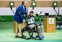 Winner Veselka Pevec of Slovenia celebrates after the Final of R4 - Mixed 10m Air Rifle Standing SH2 on day 3 during the Rio 2016 Summer Paralympics Games on September 10, 2016 in Olympic Shooting Centre, Rio de Janeiro, Brazil. Photo by Vid Ponikvar / Sportida