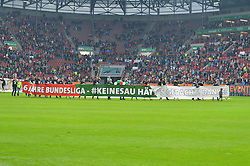 14.05.2016, WWK Arena, Augsburg, GER, 1. FBL, FC Augsburg vs Hamburger SV, 34. Runde, im Bild Der FCA mit Spruch-Banner // during the German Bundesliga 34th round match between FC Augsburg and Hamburger SV at the WWK Arena in Augsburg, Germany on 2016/05/14. EXPA Pictures © 2016, PhotoCredit: EXPA/ Eibner-Pressefoto/ Hierm<br /> <br /> *****ATTENTION - OUT of GER*****
