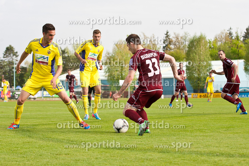 Davor Bubanja of NK Triglav and Nejc Mevlja of NK Maribor during football match between NK Triglav and NK Maribor in 1st leg of semifinal of Slovenian Cup 2012/2013, on May 1, 2013, in Sports park, Kranj, Slovenia. (Photo By Grega Valancic / Sportida.com)