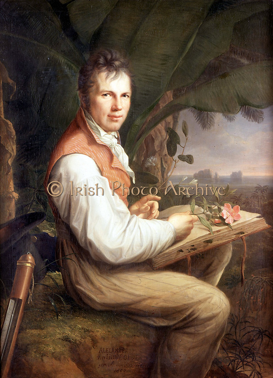 An 1806 portrait of Humboldt by Friedrich Georg Weitsch. Friedrich von Humboldt (1769 – 1859)  German naturalist and explorer, whose quantitative work on botanical geography was the foundation of the field of biogeography.