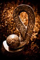 Zimsculpt at Van Dusen Botanical Garden: Forbidden Fruit - opal stone sculpture by Lloyd Zhuwakiyi (original sculpture available at www.zimsculpt.com)