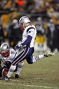 PITTSBURGH - JANUARY 23:  Kicker Adam Vinatieri #4 of the New England Patriots kicks a late game field goal against the Pittsburgh Steelers during the AFC Championship game at Heinz Field on January 23, 2005 in Pittsburgh, Pennsylvania. The Pats defeated the Steelers 41-27. ©Paul Anthony Spinelli  *** Local Caption *** Adam Vinatieri