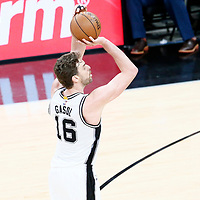 01 May 2017: San Antonio Spurs center Pau Gasol (16) takes a jump shot during the Houston Rockets 126-99 victory over the San Antonio Spurs, in game 1 of the Western Conference Semi Finals, at the AT&T Center, San Antonio, Texas, USA.