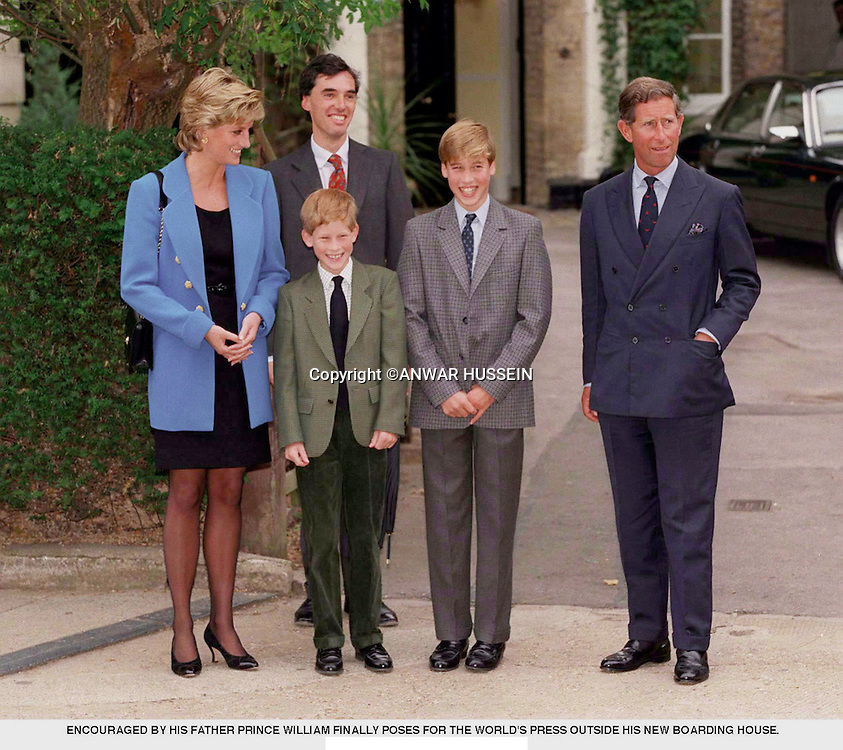 Prince William poses with Charles Prince of Wales and Diana, Princess of Wales, Prince Harry and housemaster Dr. Andrew Gailey at he starts at Eton College in  September 1995 in Windsor, England.   (Photo by Anwar Hussein)   *** Local Caption *** XXX; XXX