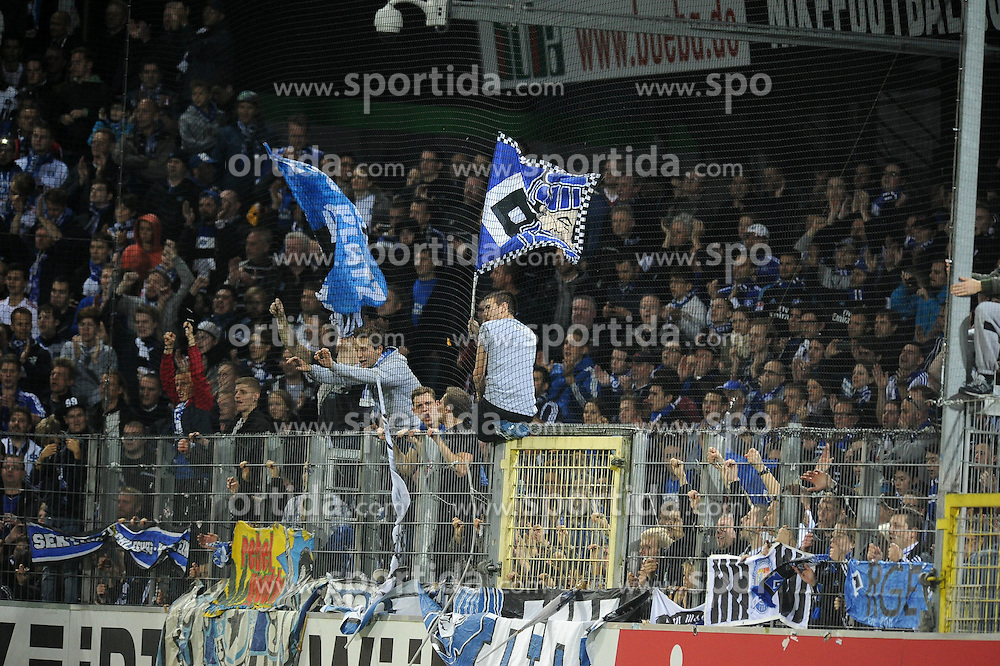 27.10.2013, Mage-Solar-Stadion, Freiburg, GER, 1. FBL, SC Freiburg vs Hamburger SV, 10. Runde, im Bild Die Hamburg Fans feiern // during the German Bundesliga 10th round match between SC Freiburg and Hamburger SV at the Mage-Solar-Stadion in Freiburg, Germany on 2013/10/27. EXPA Pictures &copy; 2013, PhotoCredit: EXPA/ Eibner-Pressefoto/ Laegler<br /> <br /> *****ATTENTION - OUT of GER*****