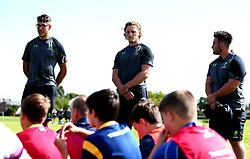 Andrew Kitchener and Tom Howe of Worcester Warriors take part in a Q&A as Worcester Warriors host a summer holiday rugby camp at Malvern College - Mandatory by-line: Robbie Stephenson/JMP - 16/08/2017 - RUGBY - Malvern College - Worcester, England - Worcester Warriors - Malvern Rugby Camp