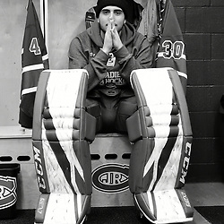 TORONTO, ON  - NOV 26,  2017: Ontario Junior Hockey League game between the Toronto Jr. Canadiens and the Toronto Patriots, Christian Mattiace #30 of the Toronto Jr. Canadiens before the pregame warm-up.<br /> (Photo by Andy Corneau / OJHL Images)