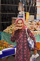 An old Malaysia woman at a market in Kota Kinabalu, Sabah, Malaysia..