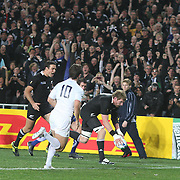 Adam Thomson, New Zealand, scores a try during the New Zealand V France, Pool A match during the IRB Rugby World Cup tournament. Eden Park, Auckland, New Zealand, 24th September 2011. Photo Tim Clayton...