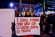 Roma 11 Febbraio 2015<br /> Manifestazione di solidarietà al popolo greco, sotto l'Ambasciata Tedesca, contro la dittatura della Troika contro austerity e  il ricatto del debito e per un'Europa unita dalle lotte e dalla solidarietà.<br /> Rome February 11, 2015<br /> Demonstration of solidarity with the people greek, in front the German Embassy, against the dictatorship of the Troika against austerity and the blackmail of the debt and for a united Europe from the struggles and solidarity.