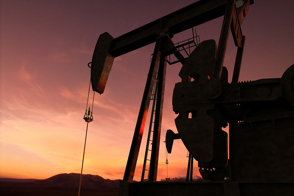 3D rendering of pump jack in an oil field