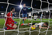 GOAL 1-2 Tottenham Hotspur midfielder Harry Winks (8) scores and celebrates, Fulham defender Joe Bryan (23) and Fulham goalkeeper Sergio Rico (25) sit in disbelief, during the Premier League match between Fulham and Tottenham Hotspur at Craven Cottage, London, England on 20 January 2019.