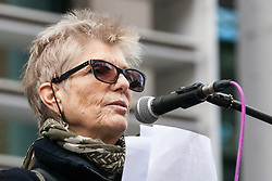 London, UK. 11th February, 2019. Carrie Mitchell from English Collective of Prostitutes (ECP) addresses campaigners against immigration deportations and the Government's hostile environment stage a 'People's Trial of the Home Office' including direct testimonies by individuals affected and performances by musicians and poets.