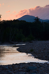 Dawn on the Saco River in Bartlett, New Hampshire.  White Mountains.