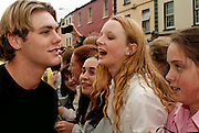 Bryan Mc Fadden of Westlife is about to be kissed by a young fan at the town Hall, Sligo, where Westlife were given fredom of Sligo. Photo: James Connolly/GreenGraph