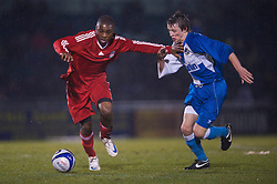 BRISTOL, ENGLAND - Thursday, January 15, 2009: Liverpool's David Amoo in action against Bristol Rovers' Ollie Clarke during the FA Youth Cup match at the Memorial Stadium. (Mandatory credit: David Rawcliffe/Propaganda)