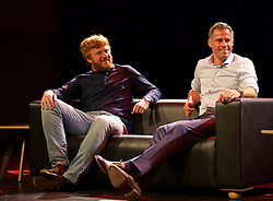 LIVERPOOL, ENGLAND - Friday, September 9, 2016: Liverpool player Jamie Carragher and author Simon Hughes on stage during the launch of Ring of Fire - Liverpool FC into the 21st century the players' story at Mountford Hall. (Pic by David Rawcliffe/Propaganda)