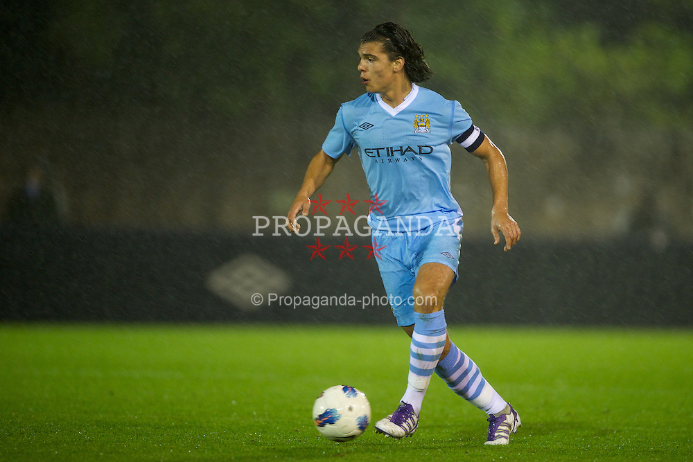 MANCHESTER, ENGLAND - Monday, October 17, 2011: Manchester City's Karim Rekik in action against Glasgow Celtic during the NextGen Series Group 1 match at Ewen Fields. (Pic by David Rawcliffe/Propaganda)