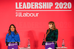 © Licensed to London News Pictures. 16/02/2020. London, UK. Labour Party deputy leadership candidates DR ROSENA ALLIN-KHAN MP for for Tooting and ANGELA RAYNER MP for Ashton-under-Lyne at a hustings event hosted by the Co-operative Party held at Business Design Centre, north London. Photo credit: Dinendra Haria/LNP