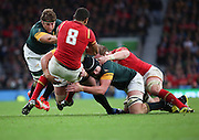 The South African defence proved to strong for Wales during the Rugby World Cup Quarter Final match between South Africa and Wales at Twickenham, Richmond, United Kingdom on 17 October 2015. Photo by Matthew Redman.