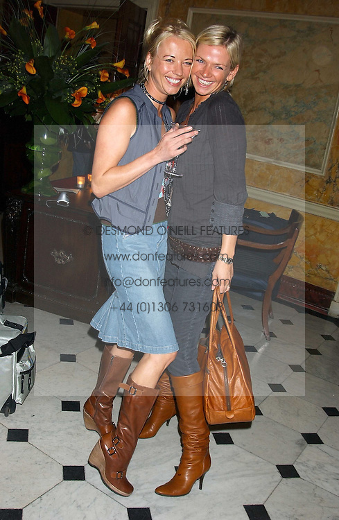 Left to right, SARA COX and ZOE BALL at a party following the TopShop Unique fashion show held at Home House, Portman Square, London on 19th September 2005.<br />