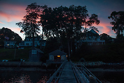 Dusk Sky Over Perkins Street, Castine, Maine, US