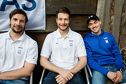 Blaz Gregorc of Slovenia, Jan Urbas of Slovenia and Klemen Pretnar of Slovenia of Slovenian Ice Hockey National Team at meeting with their supporters at day off during 2015 IIHF World Championship, on May 9, 2015 in Restaurant Zadni Vratka, Stodolni Street, Ostrava, Czech Republic. Photo by Vid Ponikvar / Sportida